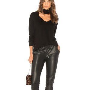 N: philanthropie black faux leather joggers